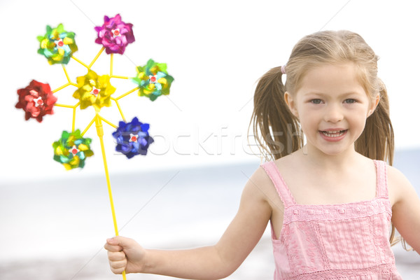 Young girl at beach with toy windmill smiling Stock photo © monkey_business