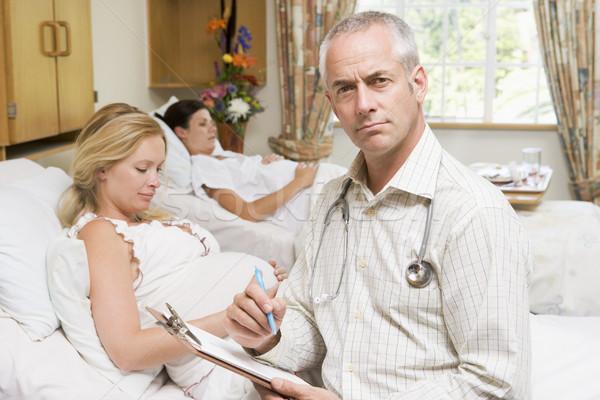 Foto stock: Médico · sesión · embarazadas · mujeres · tabla
