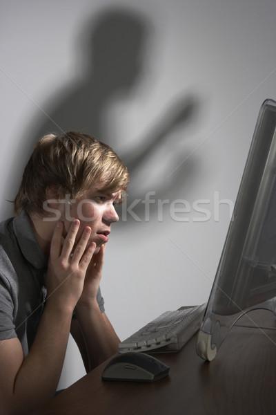 Megfélemlítés internet férfi fiú személy ül Stock fotó © monkey_business