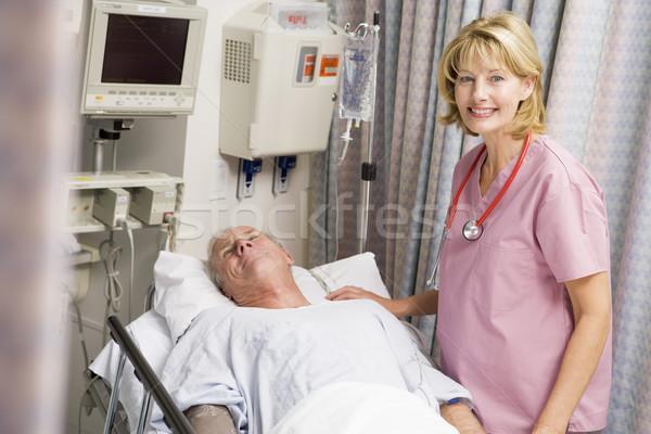 Foto stock: Médico · paciente · mulher · homem · medicina
