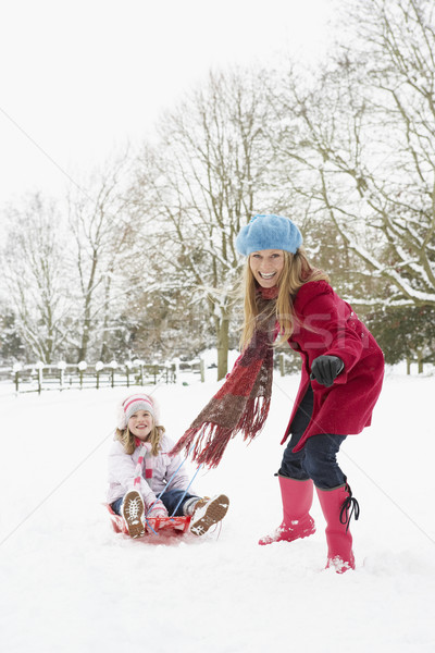 Mother Pulling Daughter On Sledge Through Snowy Landscape Stock photo © monkey_business