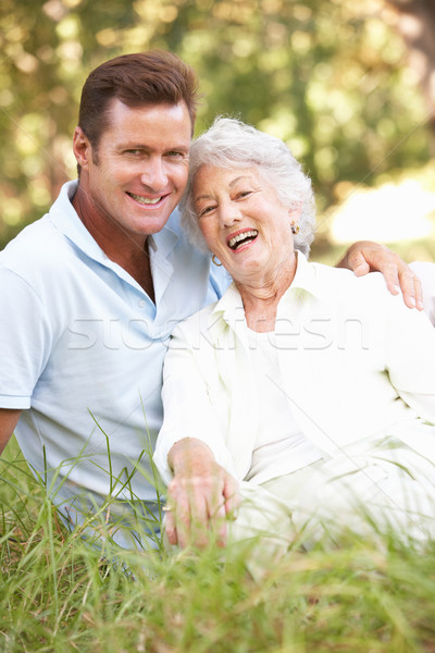 Senior Woman With Adult Son In Garden Stock photo © monkey_business
