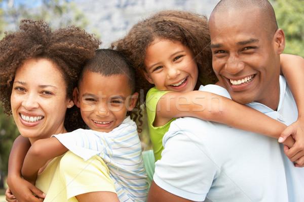 Portrait famille heureuse parc femme fille heureux Photo stock © monkey_business