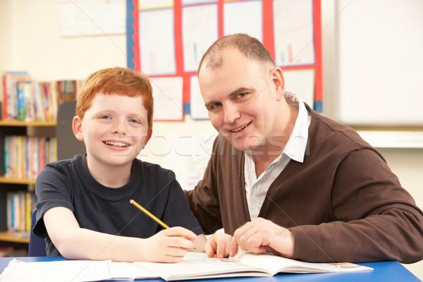 Сток-фото: мужчины · изучения · классе · учитель · ребенка · студент