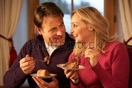 Fiatal pér karácsony vacsora étel férfi boldog Stock fotó © monkey_business