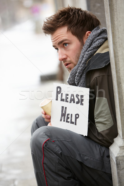 Homeless Young Man Begging In Street Stock photo © monkey_business