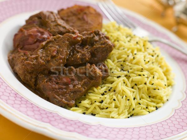 Meat Vindaloo with Pilau Rice Stock photo © monkey_business
