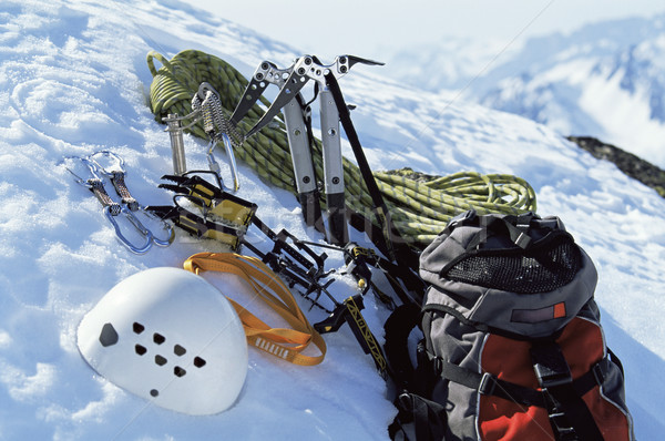 Mountain climbing equipment in snow Stock photo © monkey_business