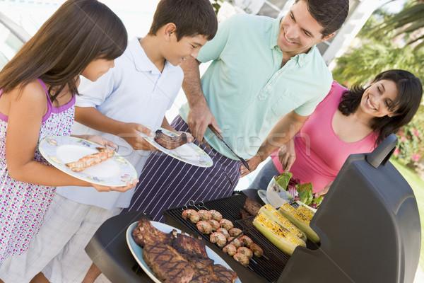 Stockfoto: Familie · genieten · barbecue · man · jongen · kleur