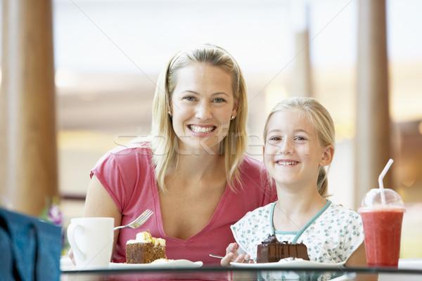 Foto d'archivio: Madre · figlia · pranzo · insieme · mall · donna