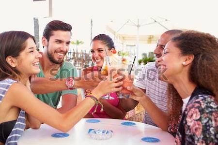 Mulheres jovens desfrutar chá café retrato saco Foto stock © monkey_business