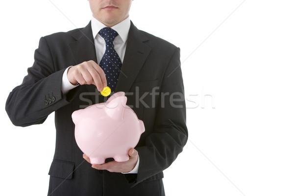 üzletember érme persely üzlet pénz férfi Stock fotó © monkey_business