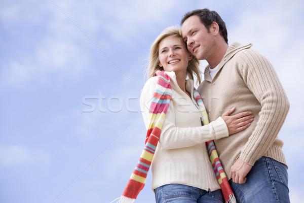 Couple permanent extérieur souriant amour homme Photo stock © monkey_business