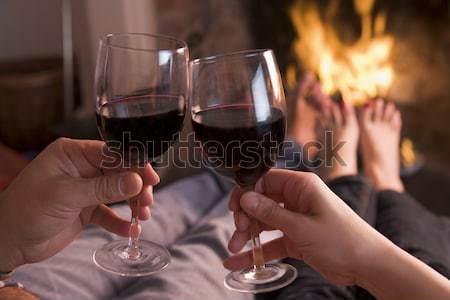 Voeten haard handen wijn brand Stockfoto © monkey_business