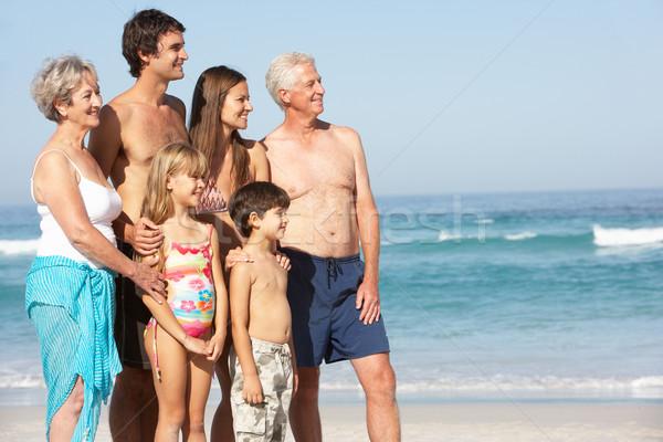 Stock foto: Drei · Generation · Familie · Urlaub · Fuß · Strand
