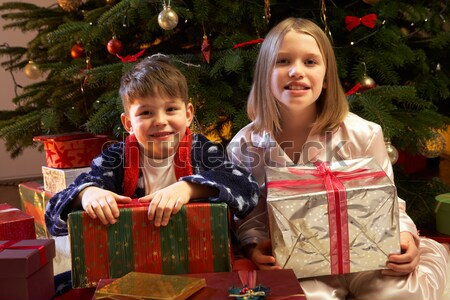 Group Of Young Children With Presents In Front Of Christmas Tree Stock photo © monkey_business