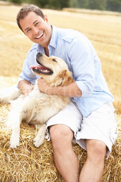 Сток-фото: человека · сидят · собака · соломы · области · лет