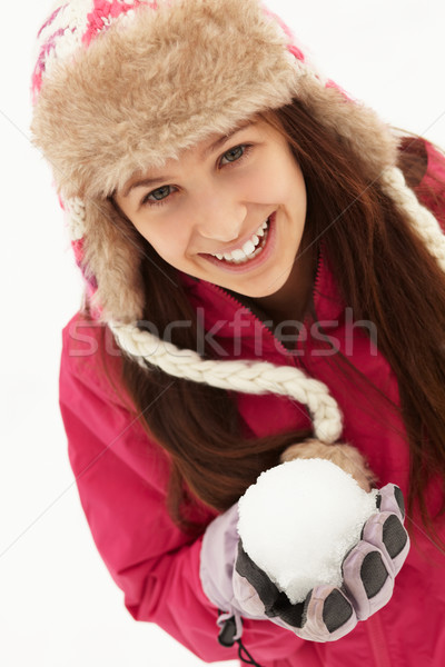 十代の少女 雪玉 着用 毛皮 帽子 ストックフォト © monkey_business