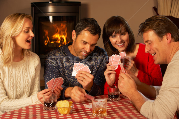 Csoport középkorú párok kártyapakli együtt férfi Stock fotó © monkey_business