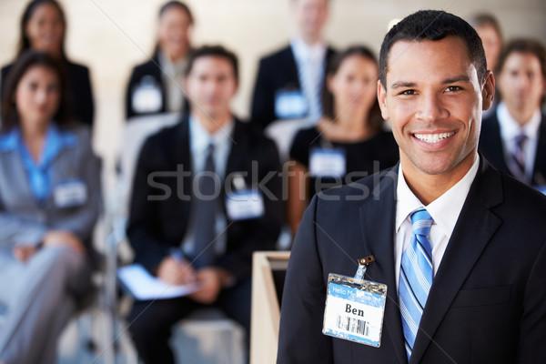 Stock fotó: üzletember · bemutató · konferencia · üzlet · férfi · férfiak