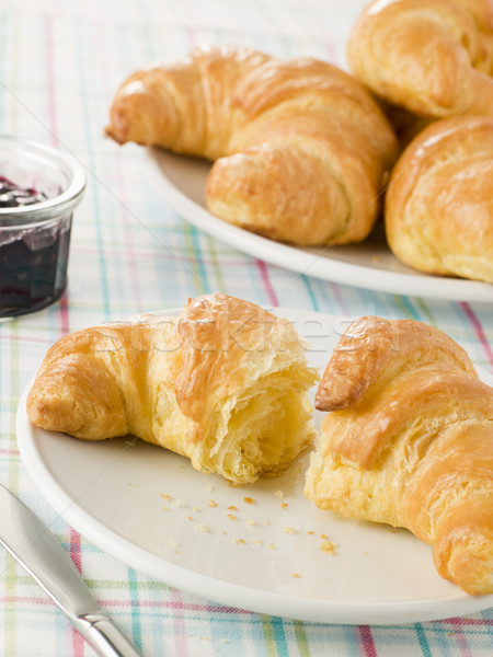 Plate of Croissants with Preserve Stock photo © monkey_business
