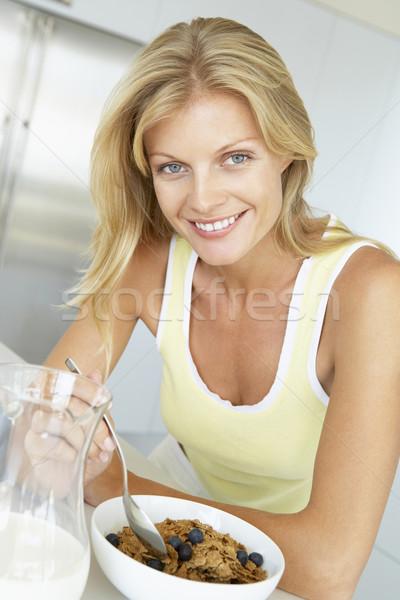 Сток-фото: взрослый · женщину · еды · зерновых · фрукты · продовольствие