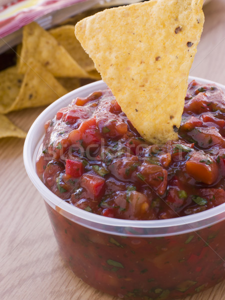Pot tomaat koriander salsa mais tortilla Stockfoto © monkey_business