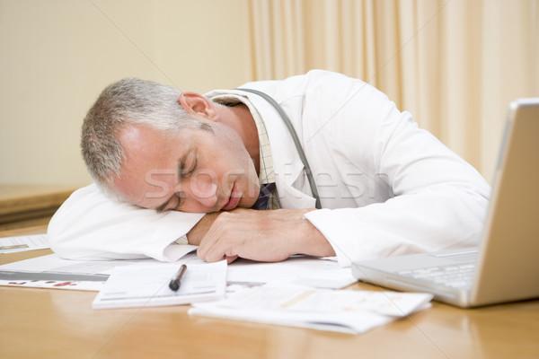 Arzt Laptop schlafen Mann Gesundheit Stock foto © monkey_business