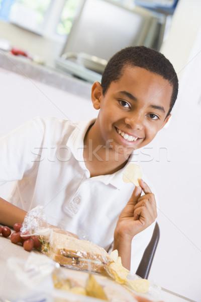 Estudante almoço escolas criança Foto stock © monkey_business