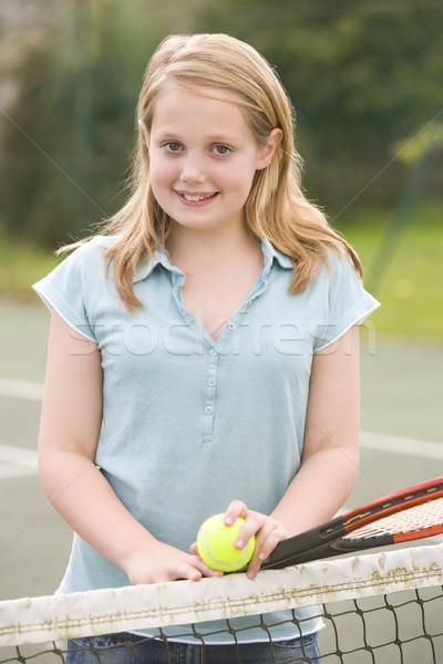Foto stock: Jovem · quadra · de · tênis · sorridente · crianças · esportes