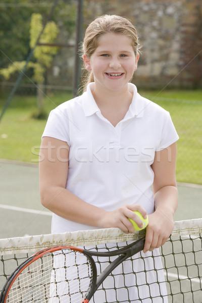 ракетка теннисный корт улыбаясь детей спорт Сток-фото © monkey_business