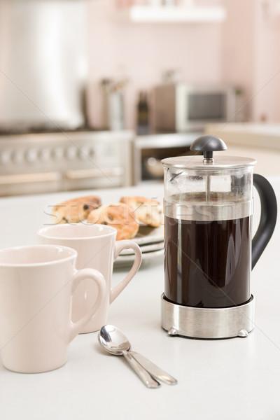 Kávé edény konyhapult étel otthon konyha Stock fotó © monkey_business