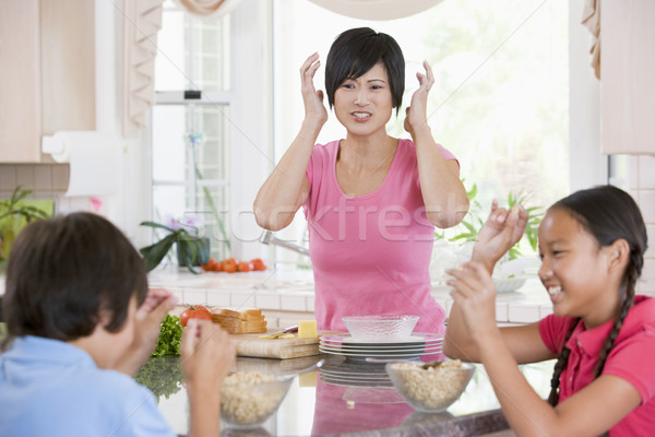 Children Play Fight While Having Breakfast Stock photo © monkey_business