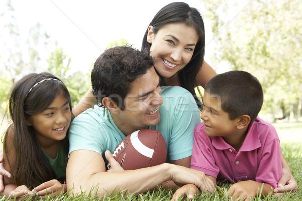 Stockfoto: Familie · park · amerikaanse · voetbal · kinderen · man