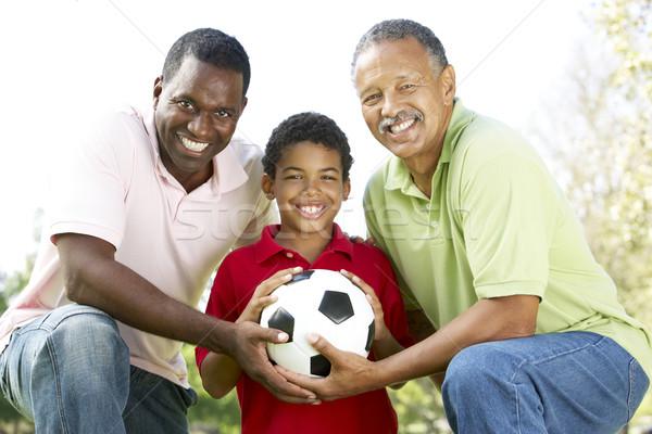 Stockfoto: Grootvader · zoon · kleinzoon · park · voetbal · familie