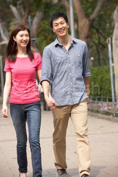 Foto stock: Jóvenes · chino · Pareja · caminando · parque · mujer
