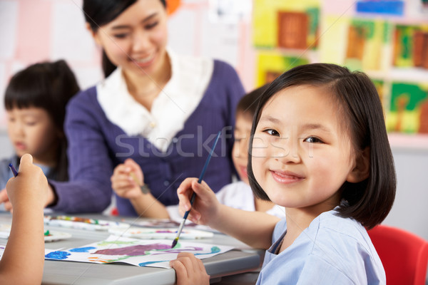 Female Pupil Enjoying Art Class In Chinese School Classroom Stock photo © monkey_business