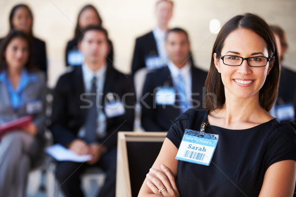 Stock photo: Businesswoman Delivering Presentation At Conference