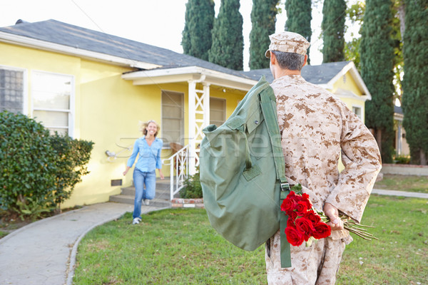 Wife Welcoming Husband Home On Army Leave Stock photo © monkey_business