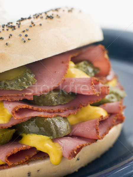 Poppy Seed Bagel with Pastrami Mustard and Gherkins Stock photo © monkey_business