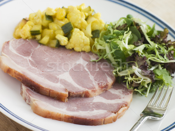 Boiled Collar of Bacon with Piccalilli and Salad Stock photo © monkey_business