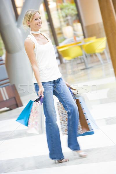 Foto stock: Mulher · shopping · sacos · feliz · compras