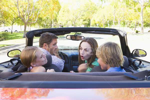 Stock photo: Family in convertible car arguing