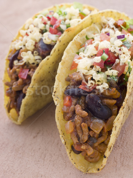 Taco voedsel tabel tomaat Mexicaanse kleur Stockfoto © monkey_business