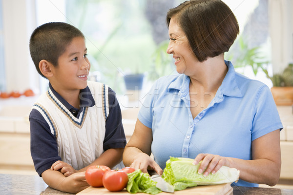 Grandmother And Grandson Preparing meal,mealtime Together Stock photo © monkey_business