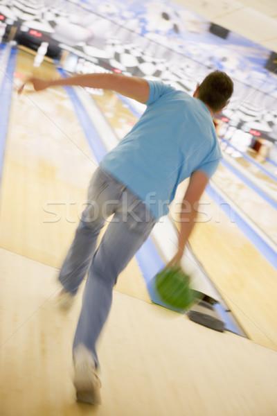 Férfi bowling hátsó nézet bemozdult sport tő Stock fotó © monkey_business