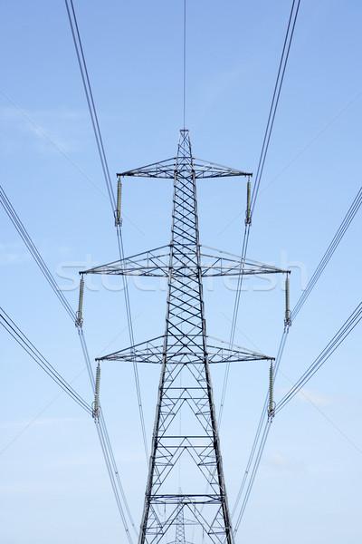 Elektromosság kék ég technológia ipar szín Anglia Stock fotó © monkey_business