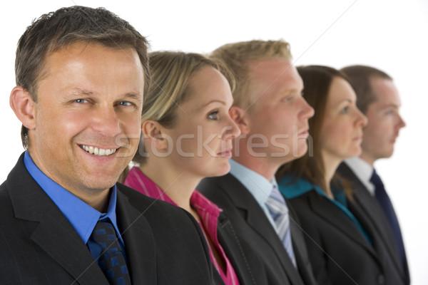 Сток-фото: группа · деловые · люди · линия · улыбаясь · женщины · мужчин
