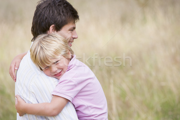 Stockfoto: Vader · zoon · buitenshuis · glimlachend · kind