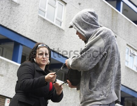 Man Mugging Woman In Street Stock photo © monkey_business